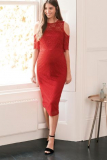 Next Red Maternity Lace Bodycon Dress - Next Red Maternity Lace Bodycon Dress