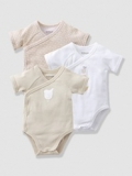 Vertbaudet - Baby's Pack of 3 Organic Collection Short-Sleeved Bodysuits
