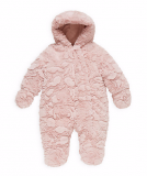 Mothercare - Girls Pink Fluffy Wadded Snowsuit