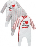 Mothercare - Unisex Mothercare I Love Mummy and Daddy Sleepsuits