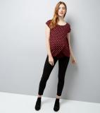 Maternity Burgundy Spot Print Wrap Front Nursing T-Shirt