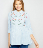 Maternity Blue Floral Embroidered Peplum Shirt