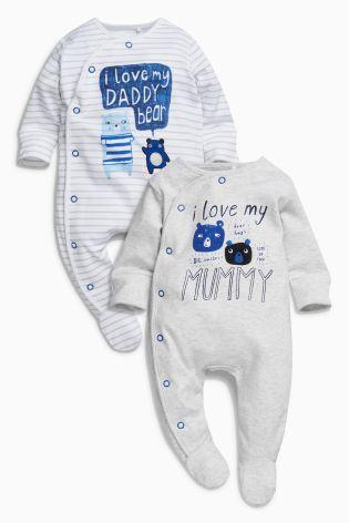 13b81c8b2 Blue/Ecru Mummy And Daddy Character Sleepsuits Two Pack - Blue/Ecru Mummy  And