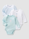 Vertbaudet - Baby's Pack of 3 Organic Collection Long-Sleeved Bodysuits