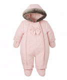 Mothercare - Girls Pink Quilted Snowsuit