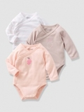 Vertbaudet - Girls Baby Bodysuits with Front Opening, button at the front