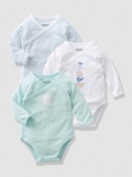 Vertbaudet - Boys Baby Long-Sleeved Bodysuits with Front Opening, button at front