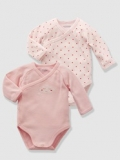 Vertbaudet - Girls Baby Vests Bodysuits with Front Opening, button at front