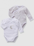 Vertbaudet - Grey Baby Vests Bodysuits with Front Opening, button at front