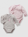 Vertbaudet - Pink Baby Vests Bodysuits with Front Opening, button at front