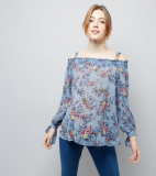 Maternity Blue Floral Print Shirred Cold Shoulder Top